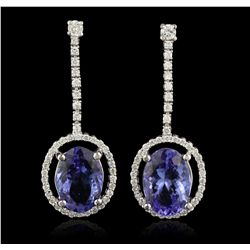 14KT White Gold 7.15ctw Tanzanite and Diamond Earrings A6665