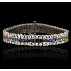 14KT White Gold 12.00ctw Sapphire and Diamond Bracelet GB4724