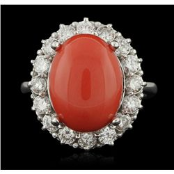 14KT White Gold 8.35ct Coral and Diamond Ring A6072
