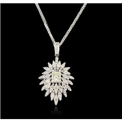 14KT White Gold 2.21ctw Diamond Pendant With Chain A6283
