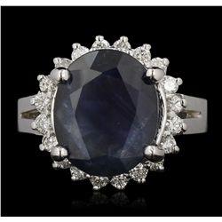 14KT White Gold 7.27ct Sapphire & Diamond Ring GB3580