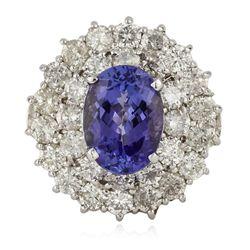 14KT White Gold 3.47ct Tanzanite and Diamond Ring RM1377