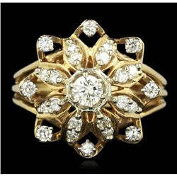 14KT Yellow Gold 0.77ctw Diamond Flower Ring GB2196
