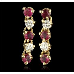 14KT Yellow Gold 0.24ctw Ruby & Diamond Earrings JRM243