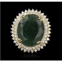 14KT Yellow Gold 23.45ct Emerald and Diamond Ring LAJB44