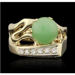 14KT Yellow Gold Jade and Diamond Ring GB3379