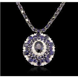 14KT White Gold 37.85ctw Sapphire and Diamond Necklace RM1824
