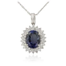 14KT White Gold 5.40ct Tanzanite and Diamond Pendant with Chain RM1366