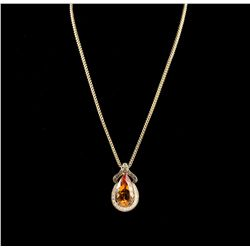14KT Yellow Gold 30.32ct Citrine & Diamond Pendant with Chain A5283
