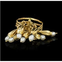 14KT Yellow Gold Dangling Pearl Fashion Ring GB2099