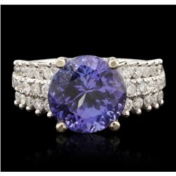 14KT Two Tone Gold 5.54ct Tanzanite and Diamond Ring A6842