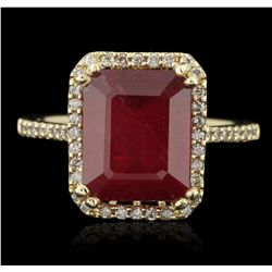 14KT Yellow Gold 6.95ct. Ruby and Diamond Ring RM1464