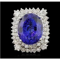 14KT White Gold 26.51ct GIA Cert Tanzanite & Diamond Ring A5868