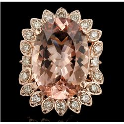 14KT Rose Gold 17.95ct GIA Cert Morganite and Diamond Ring A6399
