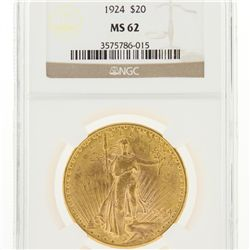 1924 $20 NGC MS62 St. Gaudens Double Eagle Gold Coin DaveF1796