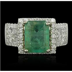 14KT Two-Tone Gold 3.01ct Emerald and Diamond Ring A5102