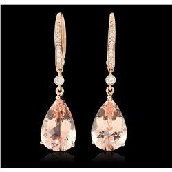 14KT Rose Gold 8.77ct Morganite and Diamond Earrings CRJ79