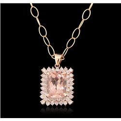 14KT Rose Gold 10.72ct Morganite and Diamond Pendant With Chain A6482