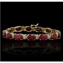 14KT Yellow Gold 30.67ctw Ruby and Diamond Bracelet GB3663