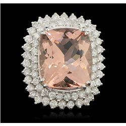 14KT White Gold 18.90ct GIA Cert Morganite and Diamond Ring A6263