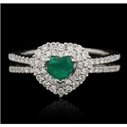 18KT White Gold 0.35ct Emerald and Diamond Ring FJM3013