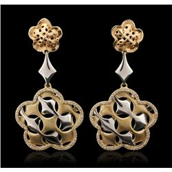 14KT Yellow Gold 0.75ctw Diamond Dangle Earrings A6936