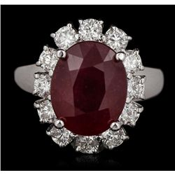 14KT White Gold 6.43ct Ruby and Diamond Ring A5477