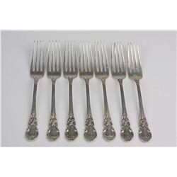 """Vintage Lunt """"American Victorian"""" Set of 7 Sterling Silver Dinner Forks ED1391"""