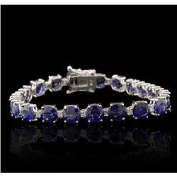 18KT White Gold 17.83ctw Sapphire and Diamond Tennis Bracelet A7169