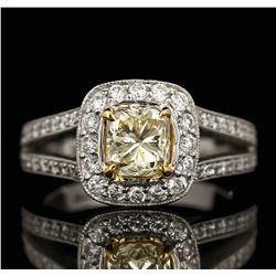 14KT White Gold 1.23ct SI-2/Light Yellow Diamond Ring A4993