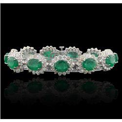 14KT White Gold 31.68ctw Emerald and Diamond Bracelet GB4818