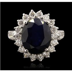 14KT White Gold 6.07ct Sapphire and Diamond Ring A7109
