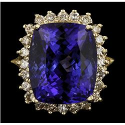 14KT Yellow Gold 11.85ct GIA Cert Tanzanite and Diamond Ring A6387