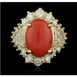 14KT Yellow Gold 7.55ct Coral and Diamond Ring A6079