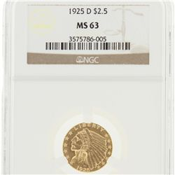 1925-D $2 1/2 NGC MS63 Indian Head Quarter Eagle Gold Coin DaveF1788