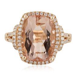 14KT Rose Gold 6.84ct Morganite and Diamond Ring CRJ57