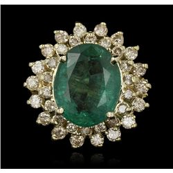 14KT Yellow Gold 4.89ct Emerald and Diamond Ring A7070