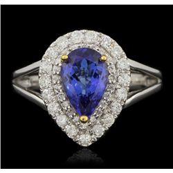 14KT White Gold 1.90ct Tanzanite and Diamond Ring A6032