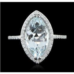 14KT White Gold 3.95ct Aquamarine and Diamond Ring A5697