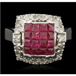 14KT White Gold 1.86ctw Ruby and Diamond Ring A6053