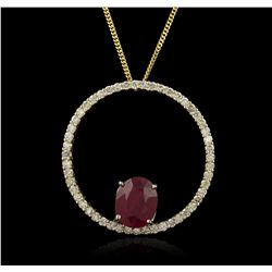 14KT Yellow Gold 4.38ct Ruby and Diamond Pendant With Chain GB3542