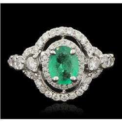 14KT White Gold 0.97ct Emerald and Diamond Ring FJM3184