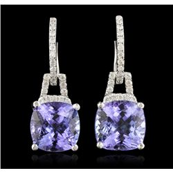 14KT White Gold 7.94ctw Tanzanite ad Diamond Earrings A7016