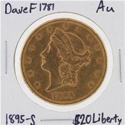 1895-S $20 AU Liberty Head Double Eagle Gold Coin DaveF1781