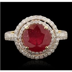 14KT Yellow Gold 3.46ct Ruby and Diamond Ring RM1835