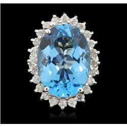 14KT White Gold 15.00ct Blue Topaz and Diamond Ring FJM3295