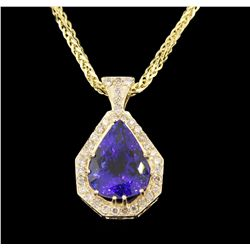 14KT Yellow Gold 27.66ct Tanzanite and Diamond Pendant With Chain A6485