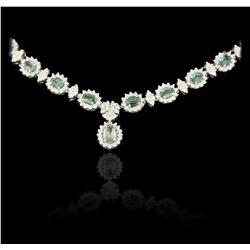 14KT White Gold 11.96ctw Alexandrite and Diamond Necklace DJ82