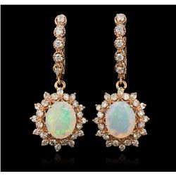 14KT Rose Gold 6.91ctw Opal and Diamond Dangle Earrings A7175
