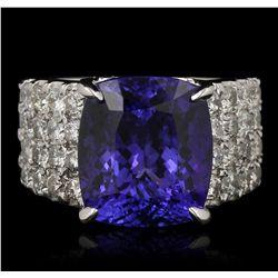 14KT White Gold 9.04ct Tanzanite and Diamond Ring A6827